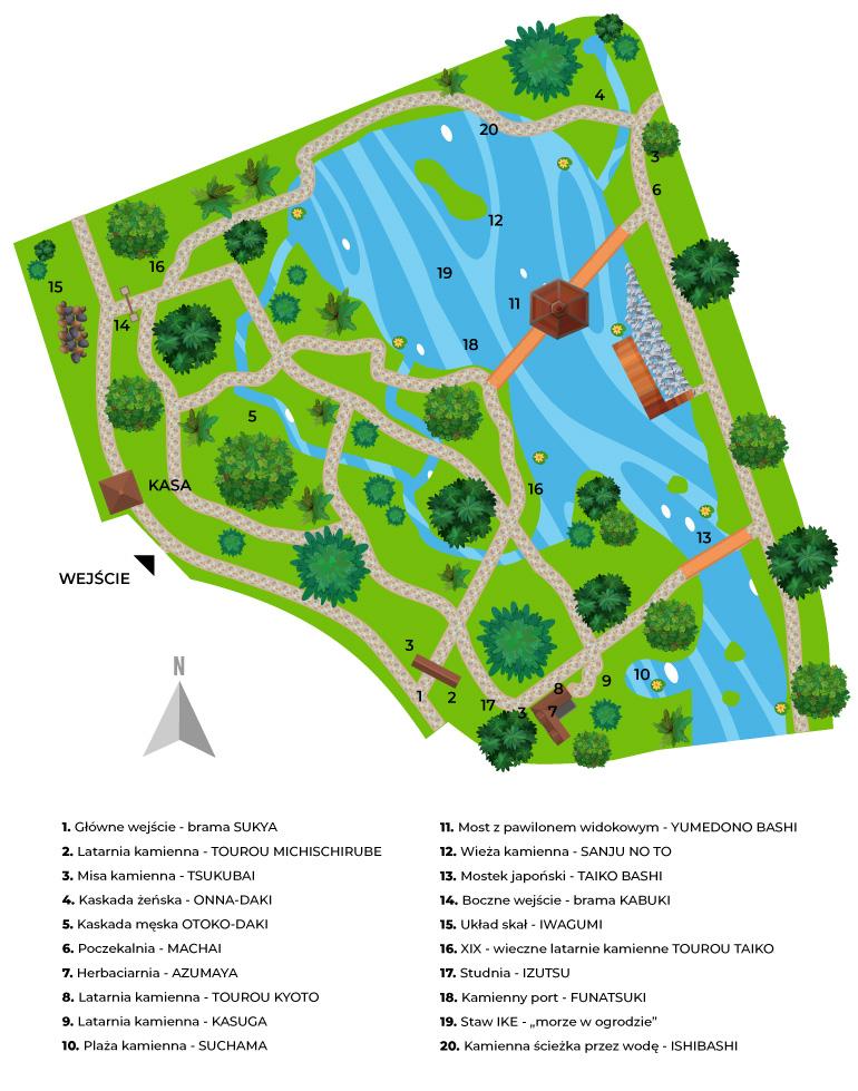 mapa ogrodu japońskiego we wrocławiu