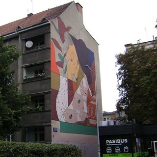 Mural Dziewczyna w kapeluszu