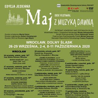 Festiwal Maj z Muzyką Dawną – edycja jesienna