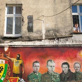 Patio de colores en ul. Roosevelta en el barrio de Nadodrze