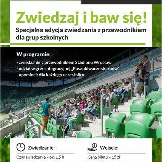 Zwiedzanie Stadionu Wrocław z przewodnikiem połączone z grą terenową